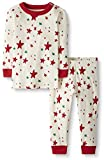 Moon and Back by Hanna Andersson Big Kids 2 Piece Long Sleeve Pajama Set, Red/Green Star, 10