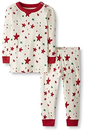 Moon and Back Kid's 2 Piece Long Sleeve Pajama Set Sleepwear, Red/Green Star, 6/7