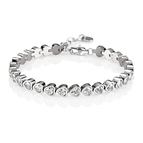 NAMANA Tennis Herz-Armband für Damen, Edelstahlarmband, besetzt mit herzförmigen Swarovski-Kristallen