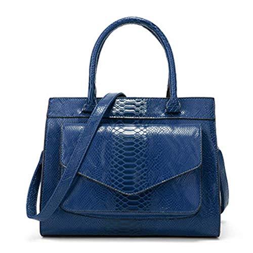 XYAZ Femmes de mode rétro imitation peau de serpent motif sauvage sac à main grand simple simple couleur sac à bandoulière sac de banlieue,Blau