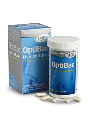 OptiBac for Every Day Extra Strength - Daily 20 Billion Friendly Bacteria Natural Supplement - Three Month Supply - 90 Capsules
