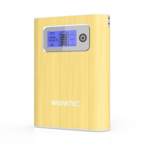 NINETEC Power Bank Akku 13.000 mAh Ladegerät extern USB für HTC Smartphone HTC One Gold NT-568