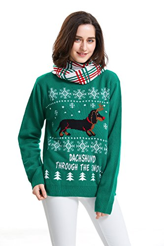 Shineflow Women's Dachshund Through The Snow Ugly Christmas Sweater Pullover Jumper (Large)