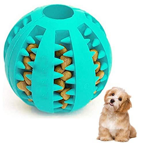Dog Toy Ball, niet giftig Bite Resistant Toy Ball voor honden Puppy Kat, hondenvoer Treat Feeder gebitsreiniging Ball, Hondhuisdier Chew gebitsreiniging Ball Pet Exercise Game Ball,Blue,M