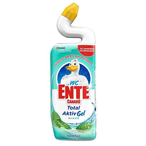 WC-Ente Total Aktiv Gel, Flüssiger WC-Reiniger, Toilettenreiniger, Minze Duft, 1er Pack, 750 ml
