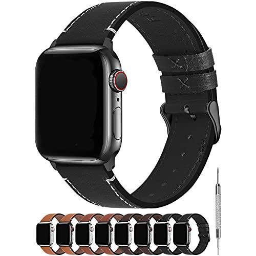 Fullmosa Kompatibel Apple Watch Armband40mm/38mm und 44mm/42mm, Vintage Leder Band für iWatch Series SE/6/5/4/3/2/1, Nike+,Ersatzband,Schwarz + Dunkelgrau Schnlle 44mm