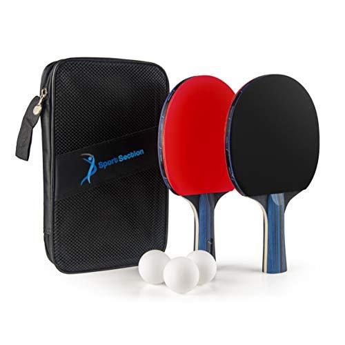 Sport Section Premium Tischtennisschläger-Set, 2 Tischtennisschläger + 3 Tischtennisbälle + Premium Tasche