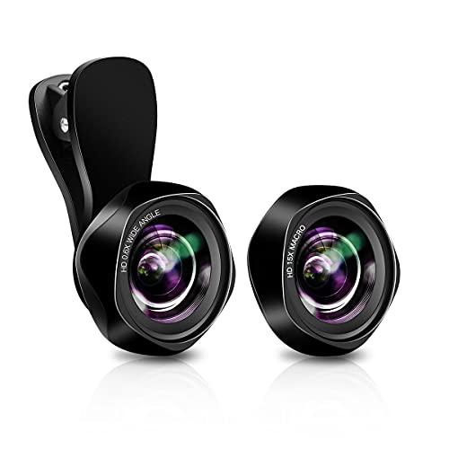 Evershop スマホ レンズ スマホ用カメラレンズ 広角レンズ マクロレンズ クリップ式レンズ Android iPhone 11/X/XR/8/7 タブレットなど対応 高画質 簡単装着 歪みなし 自撮りレンズ 交換レンズ 2in1 ブラック