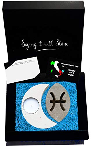 Fische Sternzeichen Teelicht Kerzenhalter aus Stein - Handgemacht in Italien - Box, Teelicht Kerze und Nachrichtenkarte enthalten - Originelle Vatertag Geschenkidee