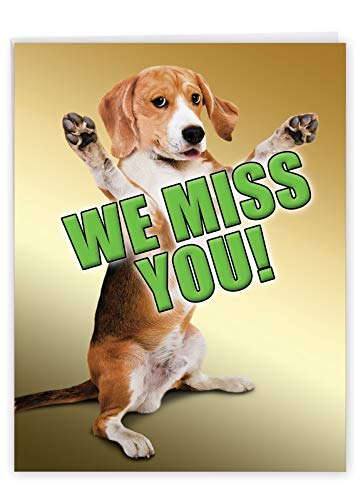 Miss You This Much Dog - Cute Miss You Greeting Card with Envelope (Big 8.5 x 11 Inch) - Pet Dog Thinking of You Note Card From All Of Us - Big Gratitude Stationery for Kids, Adult J2232MYG-US