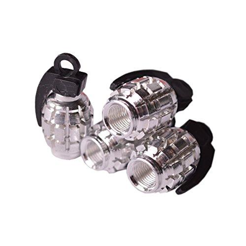 Ventilkappen Modell Handgranate Silber 4 Stück Reifen Räder Motorrad Auto Bike Ventil Luft Schmuck