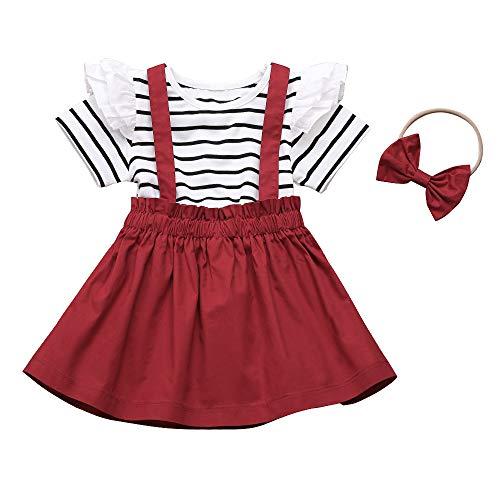 Conjunto de falda para niña pequeña, 3 piezas de manga larga con volantes + vestido general + diadema - - 4-5 años