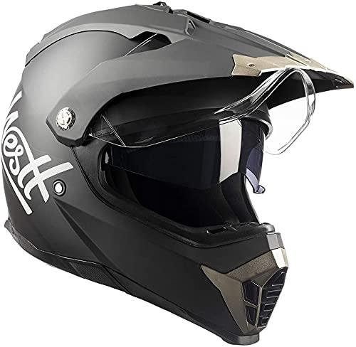 WESTT Cross X Motorrad-Helm I Motocross-Helm I Motorradhelm schwarz-matt I Motocross-Helm mit Visier I Cross-Helm-Herren I Fullface-Helm I MTB-Helm I Quad-Helm I ECE Zertifiziert I Größe L