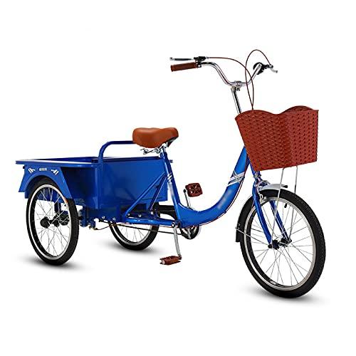 Triciclo para Adultos Bicicleta Triciclo Adulto 20in Tres Ruedas Crucero Bicicleta con Cesta De Compras para Recreación, Compras, Picnics Ejercicio para Hombres (3 Estilos)(Color:Azul-A)