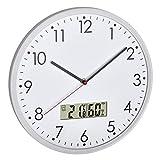 TFA Dostmann Reloj de Pared analógico con termómetro Digital e higrómetro para Control del Clima de la habitación, Cristal Transparente, 310 x 55 x 340 mm