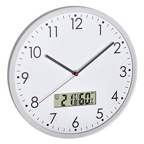 TFA Dostmann Analoge Wanduhr mit digitalem Thermometer und Hygrometer, zur Raumklimakontrolle, Glass, transparent, Ø 302 x (H) 47 mm