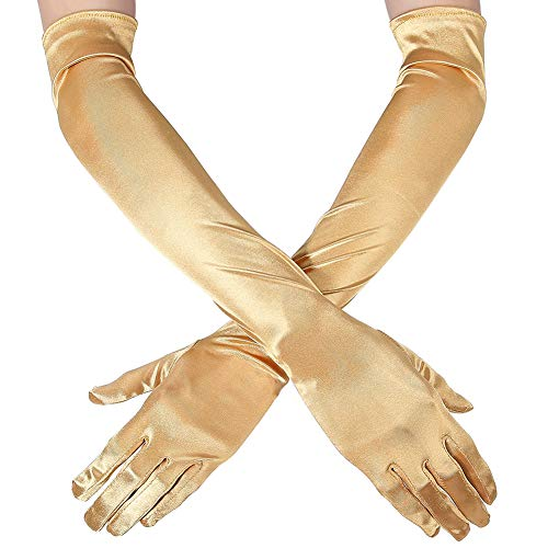 Xuhan Women's 21' Long Evening Party Satin Gloves Elbow Length Flapper Girls 1920s (Gold)