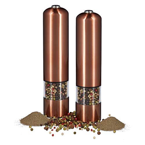 Relaxdays 2 x elektrische Pfeffermühle im Set, Gewürzmühle oder Salzmühle, mit Keramikmahlwerk batteriebetrieben, mit Licht, nachfüllbar, Bronze