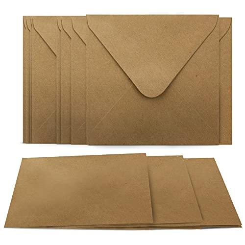 50 Umschläge + Klappkarten Quadratisch - Kartenset aus Kraftpapier Selbstgestalten - Blanko Faltkarten 220 g/m² 13,5 x 13,5 cm - Natur Briefumschläge 90 g/m² 14 x 14 cm