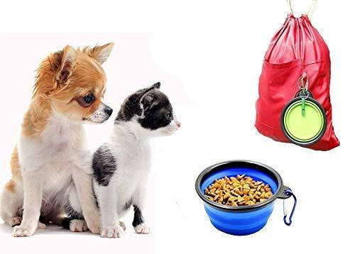 Hokpet Faltbare Reisetassen für Hunde, Katzen, Haustiere, Behälter für die Bewässerung auf Reisen, Wandern, Camping, Futternapf für Hunde, Faltbare Schüsseln mit Karabinerhaken, Leicht & Tragbar, Rot