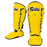 Fairtex Twister Shin Guards, SP7 - Detachable in-Step Shin Pads (Yellow, M)