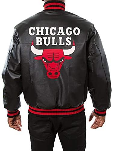 EU Fashions Chicago Red Bulls Logo Negro 100% Cuero Real Chaqueta de Béisbol, Negro - piel sintética., L