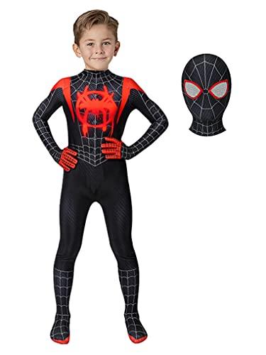Superhero Dress Up Costume Kids Cosplay Bodysuit for Boys Halloween Zentai Spandex Full Jumpsuit,M Black