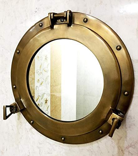 Specchio a forma di oblò in alluminio, 38,1 cm di diametro,...