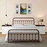 Ambee21 Vintage Full Metal Bed Frame with Headboard and Footboard  Platform/Wrought Iron/Heavy Duty/Solid Sturdy Metal Slat/Rustic Brown/No Box Spring Needed/Mattress Foundation