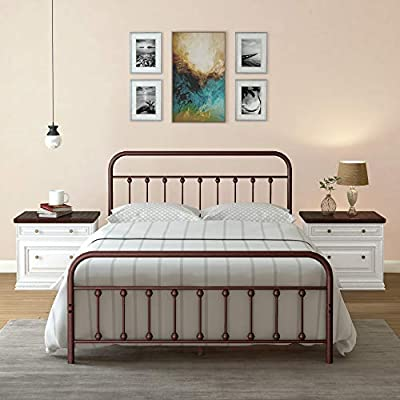 AMBEE21 Vintage Queen Metal Bed Frame with Headboard and Footboard – Platform/Wrought Iron/Heavy Duty/Solid Sturdy Metal… - CLASSIC STYLE: Vintage Bed beautifully complements many spaces like room for kids, teenagers, girls, boys, adults. With its antique country Victorian look with a dark brown – bronze color – it becomes a perfect bed frame to have. HEAVY DUTY PLATFORM : It is compatible with Memory Foam, Gel, Latex, Spring and Hybrid mattresses. 14 inches high platform foundation is strong and sturdy as steel metal slats are built to last and are strategically placed to prevent mattress sagging. No need to worry about squeaking anymore, as Foam Padding is installed for Noise-Free Sleep. MATTRESS NON SLIP STOPPER : Bed Frame has Mattress Anti Skid Protection that helps preventing mattress from sliding. We are thoughtful of our products, and want our customers to experience the best sleep. - bedroom-furniture, bedroom, bed-frames - 41JVSFaxcyL. SS400  -