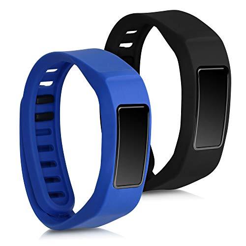 kwmobile 2X Brazalete Compatible con Garmin Vivofit 2 - Pulsera de TPU para Fitness Tracker en Negro/Azul Oscuro