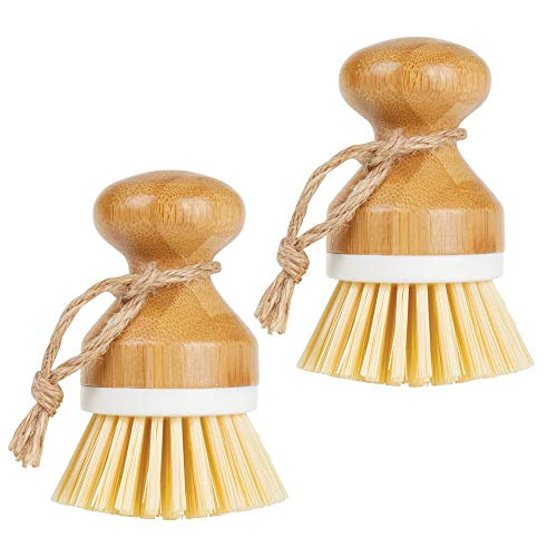 mDesign Bamboo Round Mini Palm Scrub Brush Stiff Bristles  Wet Cleaning Scrubber  Wash Dishes Pots Pans Vegetables  for Kitchen Sink Bathroom Household Cleaning  2 Pack  White/Natural Wood