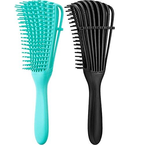 2 Pieces Detangling Brush for Afro America/ African Hair Textured 3a to 4c Kinky Wavy/ Curly/ Coily/ Wet/ Dry/ Oil/ Thick/ Long Hair, Knots Detangler Easy to Clean (Black, Green)
