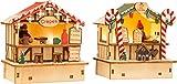 Small Foot 11787 Mercado, Crepes y Lindos Productos, Dos cabañas de Madera con iluminación LED, decoración navideña iluminada Decoration, Multicolor, Normal