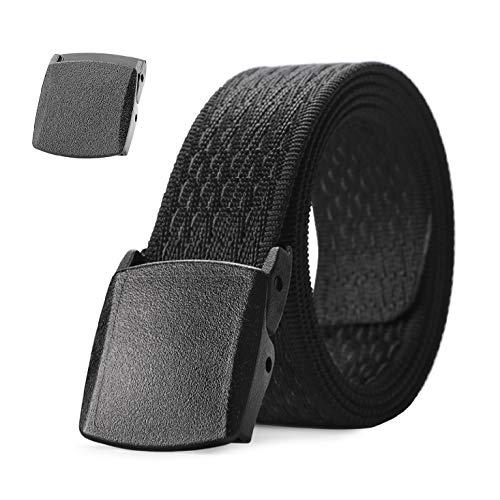 "JASGOOD Nylon Outdoors Hiking Unisex Belt Tactical Gun Belt Police Duty Belt with 2 Plastic Nickel Free Buckle,1-2 Black 2-pant Size Below 43"""