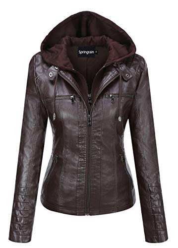 Springrain Women's Casual Stand Collar Detachable Hood PU Leather Jacket (X-Large, Coffee)