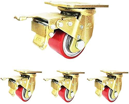 MWKLW Ruote piroettanti con Piastra Girevole da 3 Pollici, rotelle industriali di Alta qualità per impieghi gravosi (Set di 4 rotelle girevoli con Ruota Fissa)