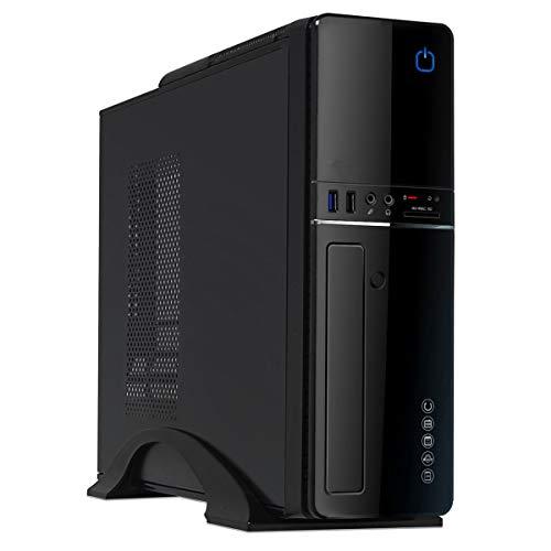 CiT S012B Boîtier Micro ATX/ITX avec Bloc d'alimentation 300 W et Lecteur de Cartes Noir