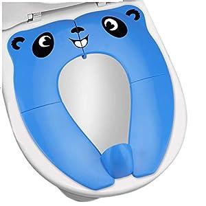[Upgrade Version] Reductor WC Niños - RIGHTWELL Orinal Portatil Plegable,Tapa WC Plegable para Niños - Compacto y Portátil para Viajes (Azul)