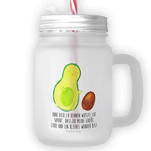 Mr. & Mrs. Panda Henkelglas, Trinkglas, Mason Jar Trinkglas Avocado rollt Kern mit Spruch - Farbe Transparent