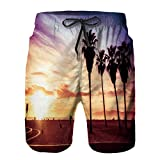 Bañador De para Hombre Pantalones Playa Shorts, Azul California Venice Beach Atardecer Verano Naranja Costa Paisaje Amanecer Sol Brillante Secado Rápido Ligero Baño Cortos XL