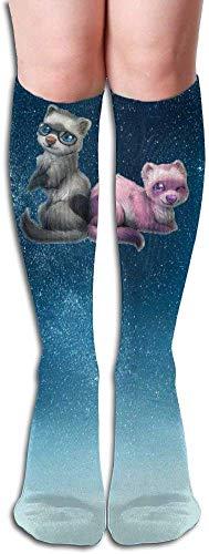 xinfub 5688 Kompressionsstrümpfe, lustige Katzen-Waschbär, volle Socken, lange Socken, kniehoch, bequem