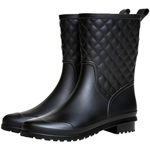 Yvmurain - Botas de Lluvia de Media Pantorrilla para Mujer, Impermeables, Zapatos de jardín para Trabajo al Aire Libre, Negro (Negro), 39.5 EU
