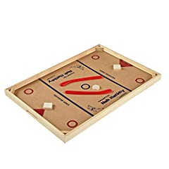 Popular Nok-Hockey game with durable wooden two-player board Solid wood goal zone obstacles and corner banks; two hardwood pucks and two plastic hockey sticks Thick, 0.75-inch wooden frame and 0.125-inch hardboard playing surface; two-color, screen-p...