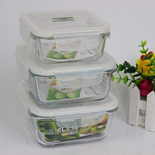 Good Life Crisper Lunchbox Nahrungsmittelbehälter mit einem Deckel aus gehärtetem Glas Deckel Glasschüssel mit Deckel Quadrat Schale mit frischen Anzug
