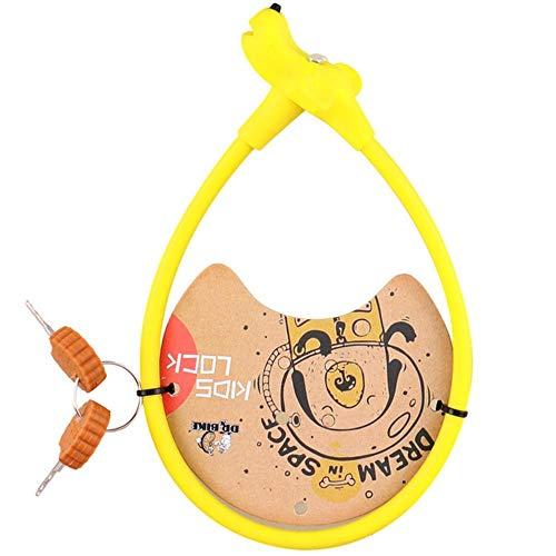 Houer Fiets Kinderfiets Kabelslot Siliconen Oppervlak Staaldraad Antidiefstal Fietssloten Kinderen Fietsaccessoires, 45cmGeel