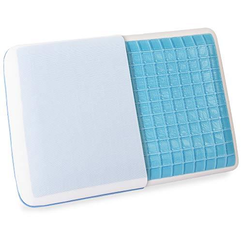 wavveUziz Cooling Gel Pillow, Medium Firm Memory Foam Pillow for Side, Back Sleepers - Durable Cooling Pillow for Sleeping Cool with Breathable Washable Mesh Pillowcase, Standard