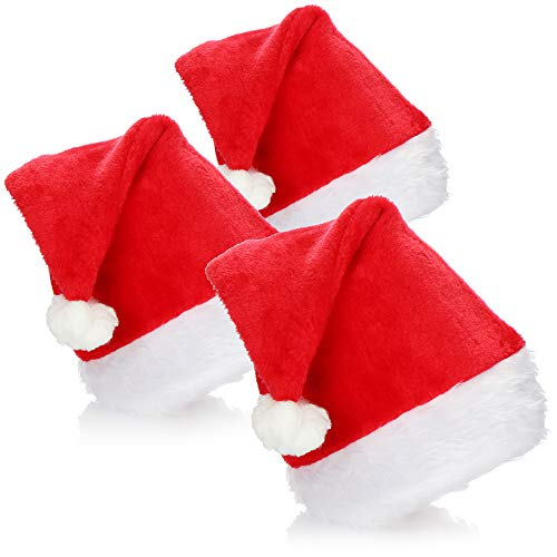 com-four 3X Christmas Hat X-Mas Santa Claus Hat Santa Claus Felpa Gorro de Navidad (03 Piezas - Sombrero con Borde de Felpa)