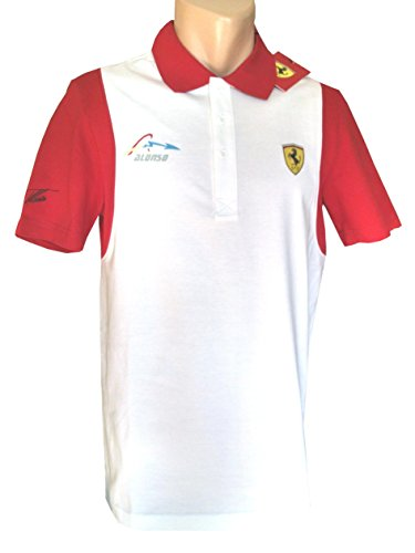 FERRARI / Formel 1 - Mens Santander Alonso Polo Shirt - Weiss, XL