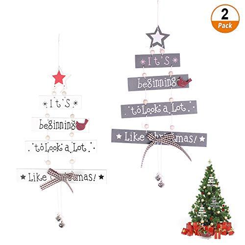 Fulushou Adorno Colgante de Navidad 2 Piezas Ornamento